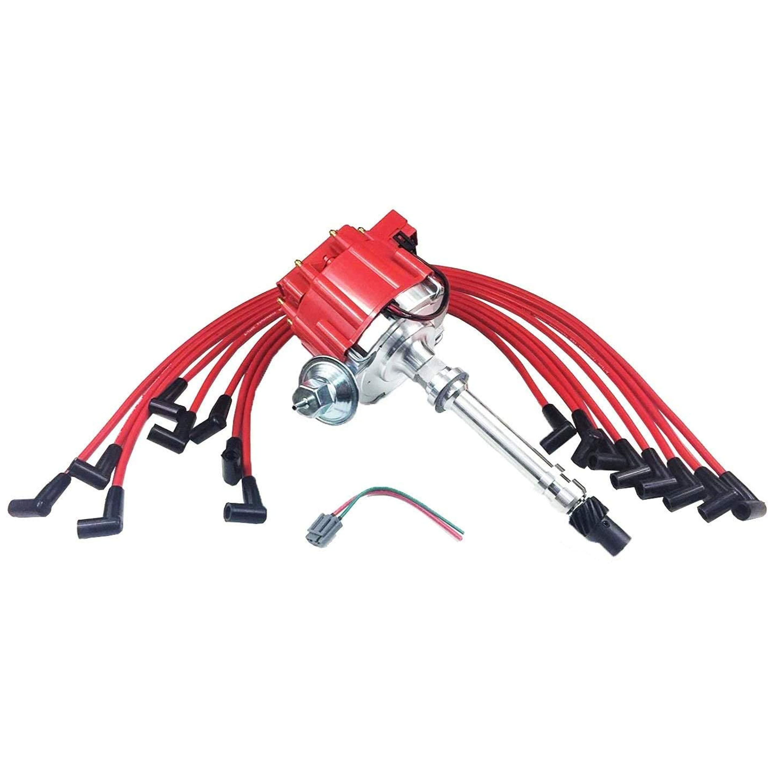 A-Team Performance HEI Distributor Red Cap and 8mm Spark Plug Wires Set  Under The Exhaust Compatible with SBC Small Block Chevrolet Chevy 283 350 | Chevy 350 Hei Wiring |  | Southwest Performance Parts