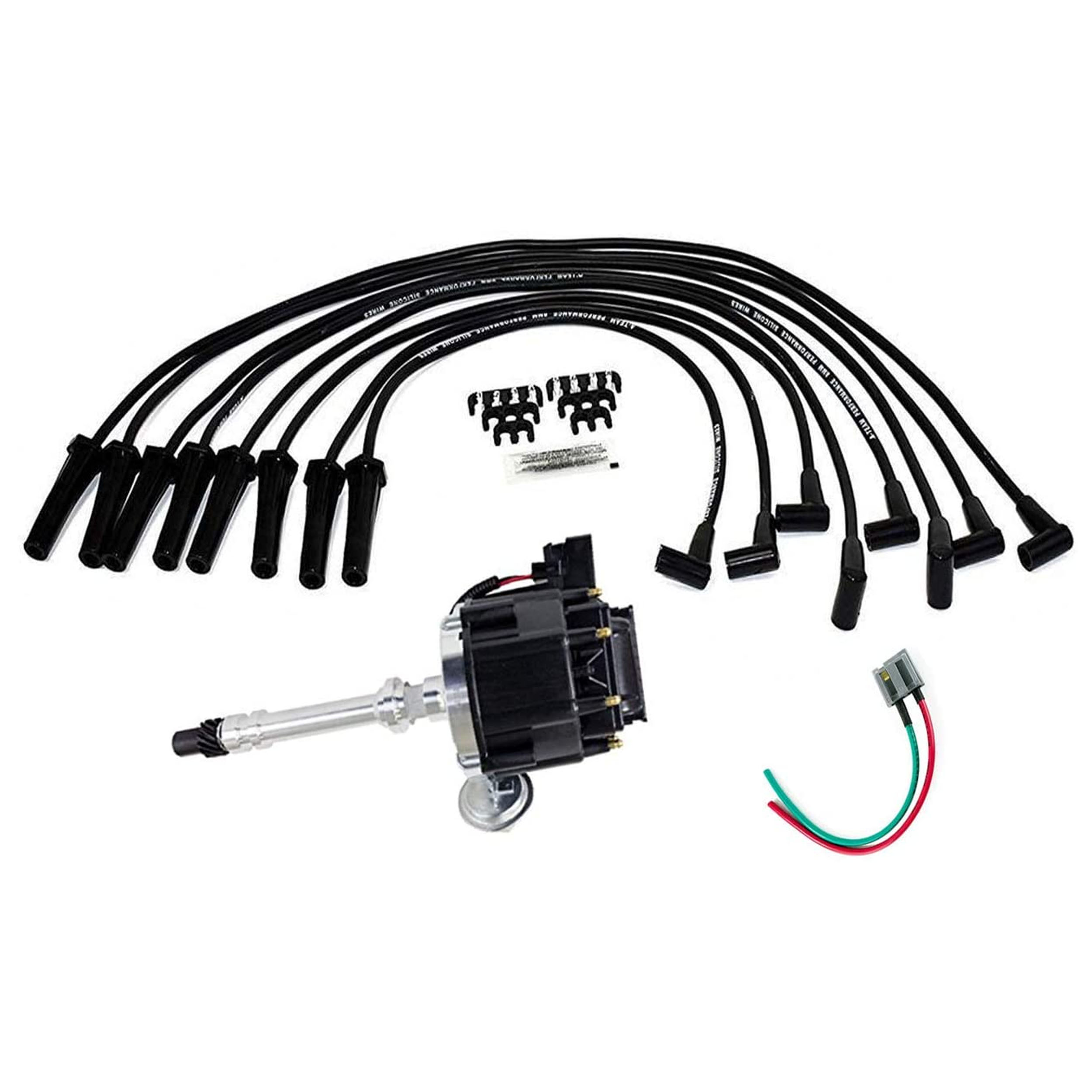 A-Team Performance HEI Distributor Black Cap with Black Spark Plug Wires  Set and Pigtail Wiring Harness Complete Kit Compatible with Chevrolet Chevy  GM GMC Big Block Chevy BBC 396 427 454 | Chevrolet Plug Wiring |  | Southwest Performance Parts