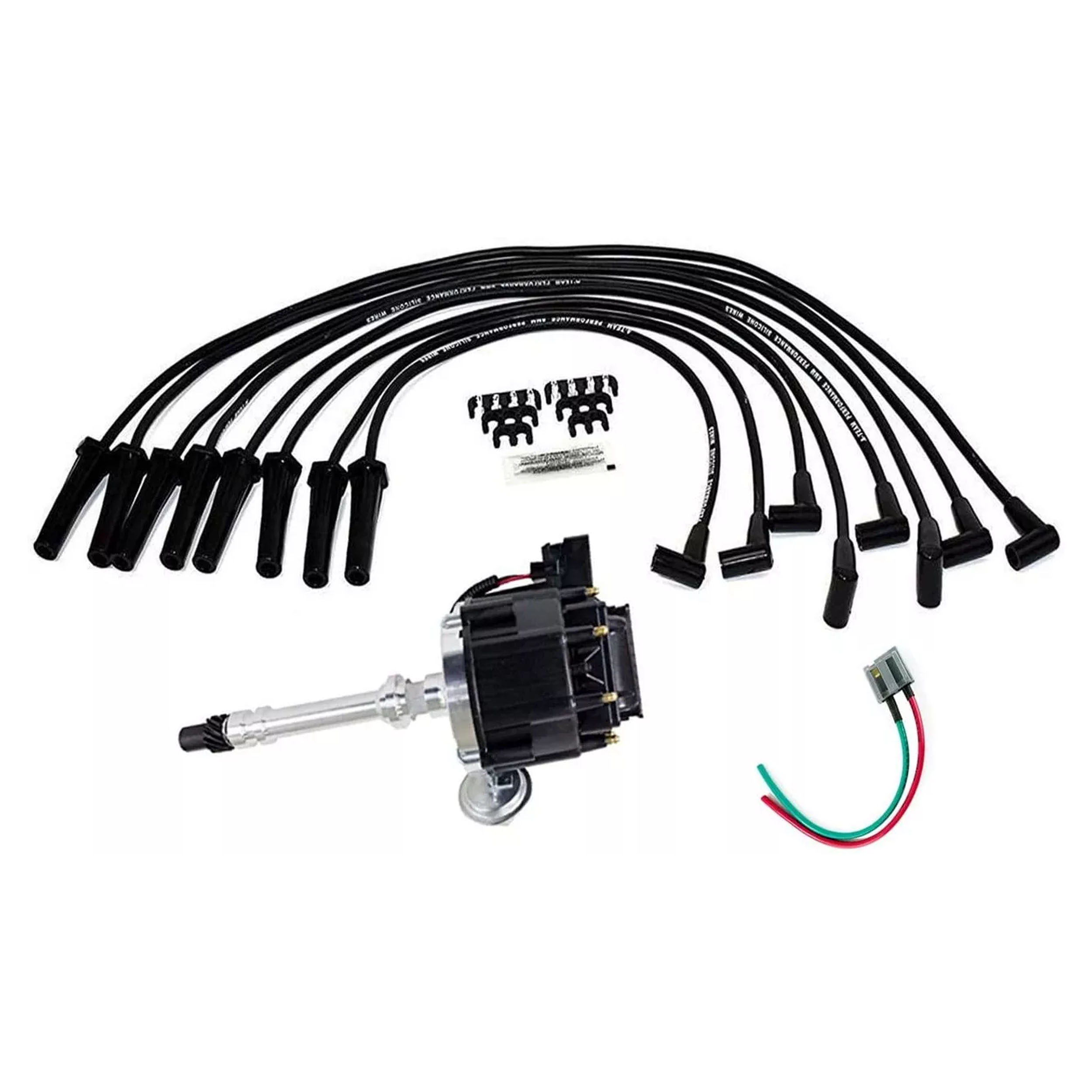 A-Team Performance HEI Distributor Black Cap with Black Spark Plug Wires  Set and Pigtail Wiring Harness Complete Kit Compatible with Chevrolet Chevy  GM GMC Big Block Chevy BBC 396 427 454Southwest Performance Parts
