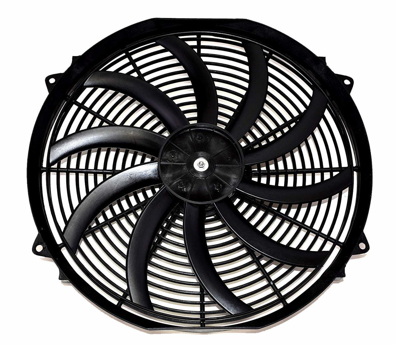 """A-Team Performance Electric Radiator Cooling Fan Cooler Heavy Duty Wide Curved 10 S Blades 12V 3000 CFM Reversible Push or Pull with Mounting Kit Black 16"""""""