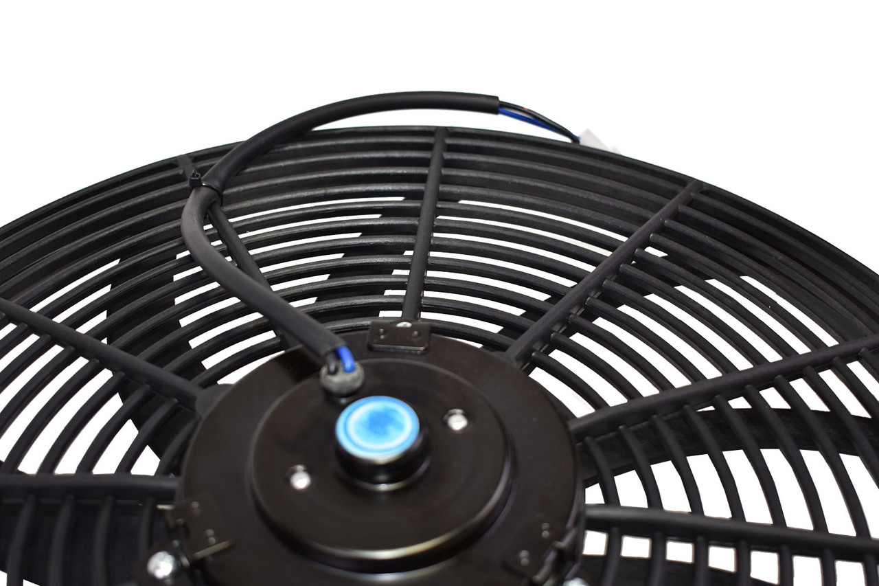 "A-Team Performance 16"" Heavy Duty 12V Radiator Electric Wide Curved S Blade FAN & Thermostat Kit"