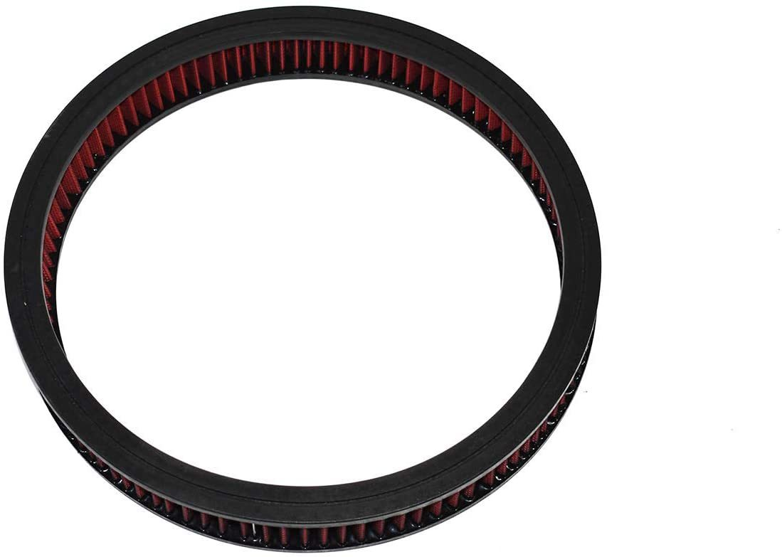"""A-Team Performance High Flow Replacement Air Cleaner Washable and Reusable Round Air Filter Element for Buick, Chevrolet, GMC, Ford, Mopar, Oldsmobile, Pontiac 14"""" X 2"""" Cotton Fiber Red"""