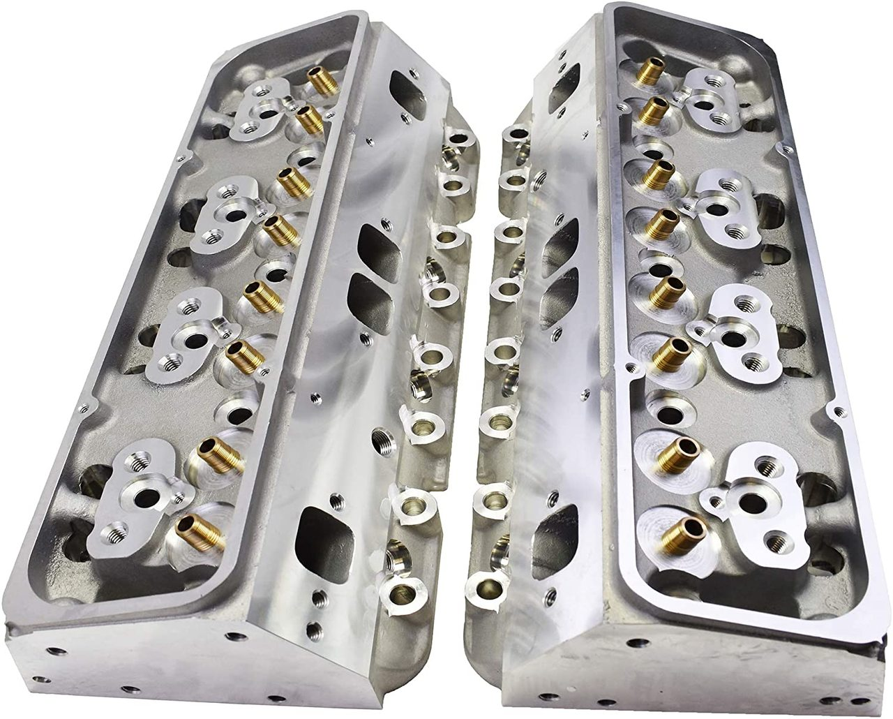 A-Team Performance SBC Small Block Chevy GM Straight Plug Aluminum Cylinder Head Set 64cc 2.02/1.60