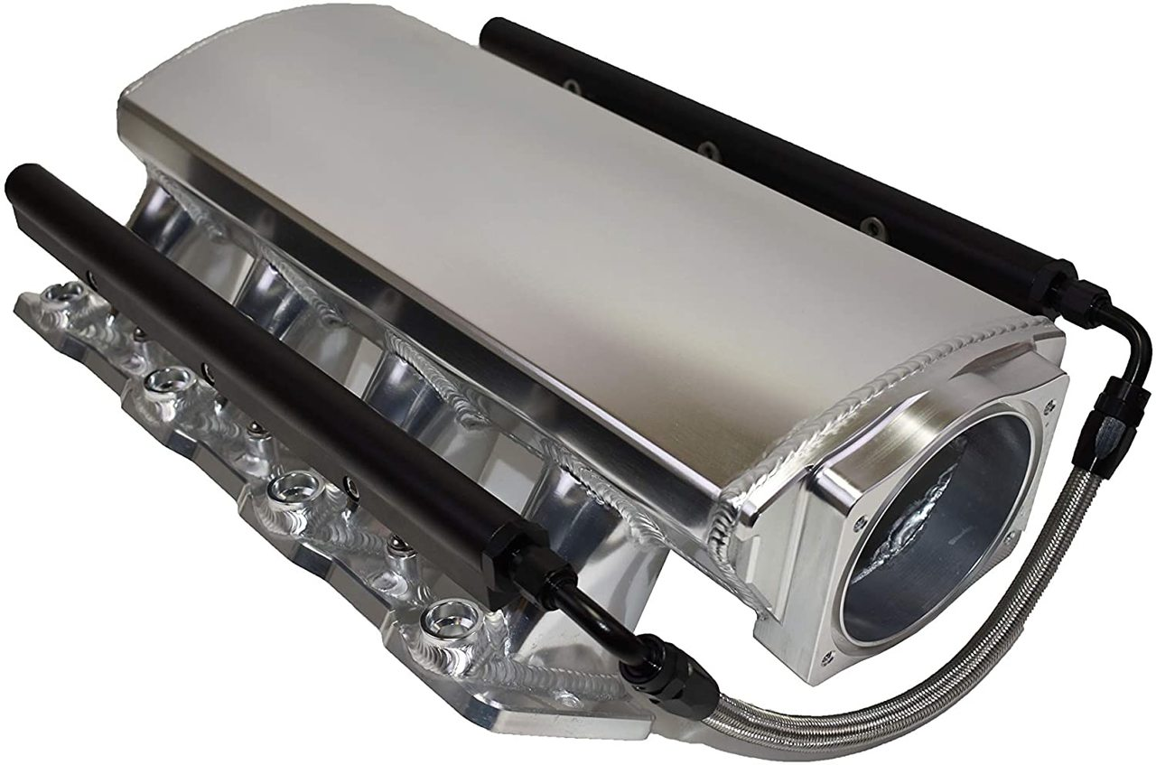 A-Team Performance Short Fabricated Intake Manifold Compatible with LS LSX LS LS1 LS2 LS6 EFI 7° Throttle Opening (SILVER)