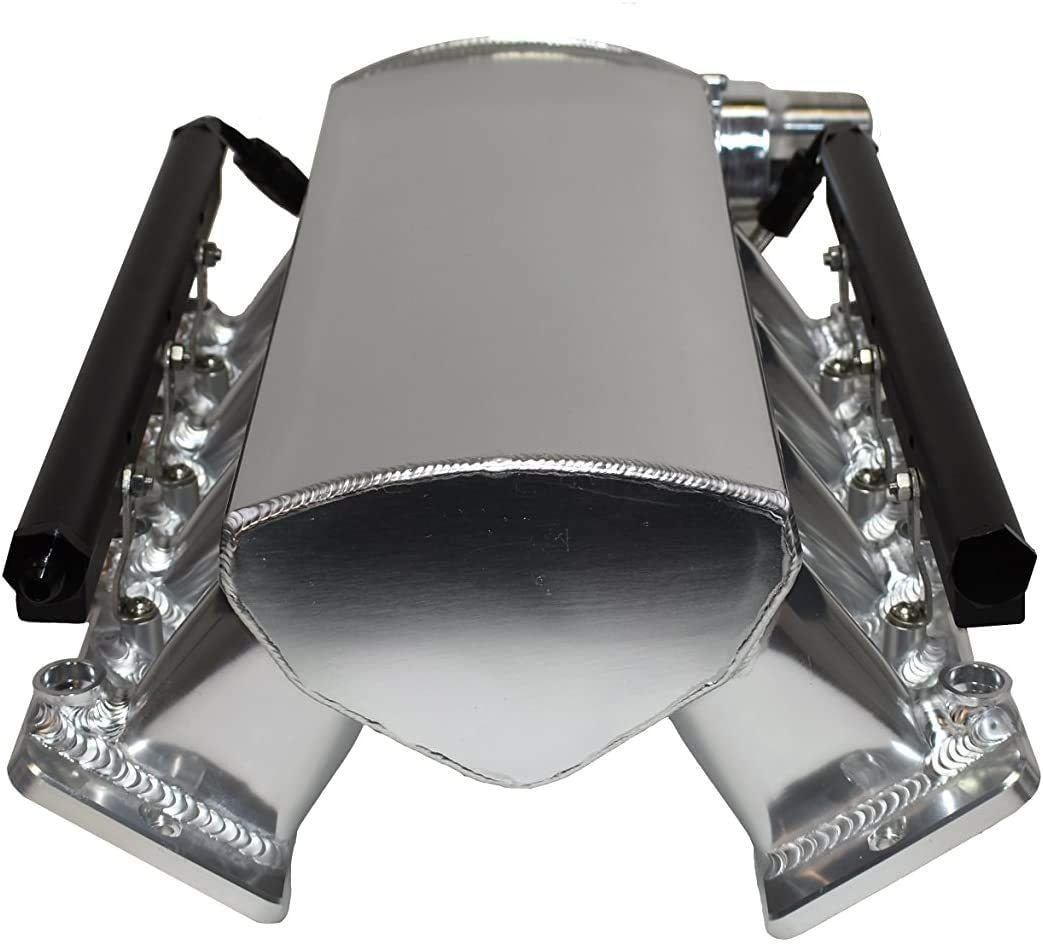 A-Team Performance Fabricated Intake Manifold with Drive By Wire Throttle Body Compatible with LS LSX LS1 LS2 LS6 - Silver