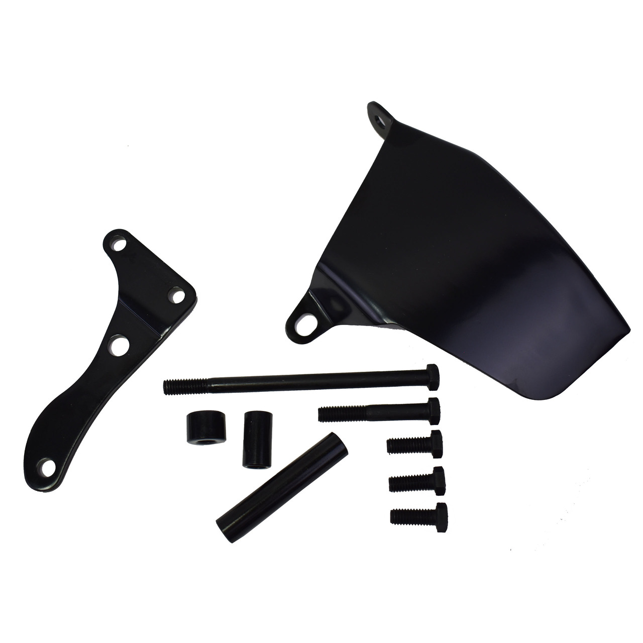 A-Team Performance 1969-1975 Alternator Steel Bracket Long Water Pump Compatible with SBC Small Block Chevy 262 283 350 400 BLACK