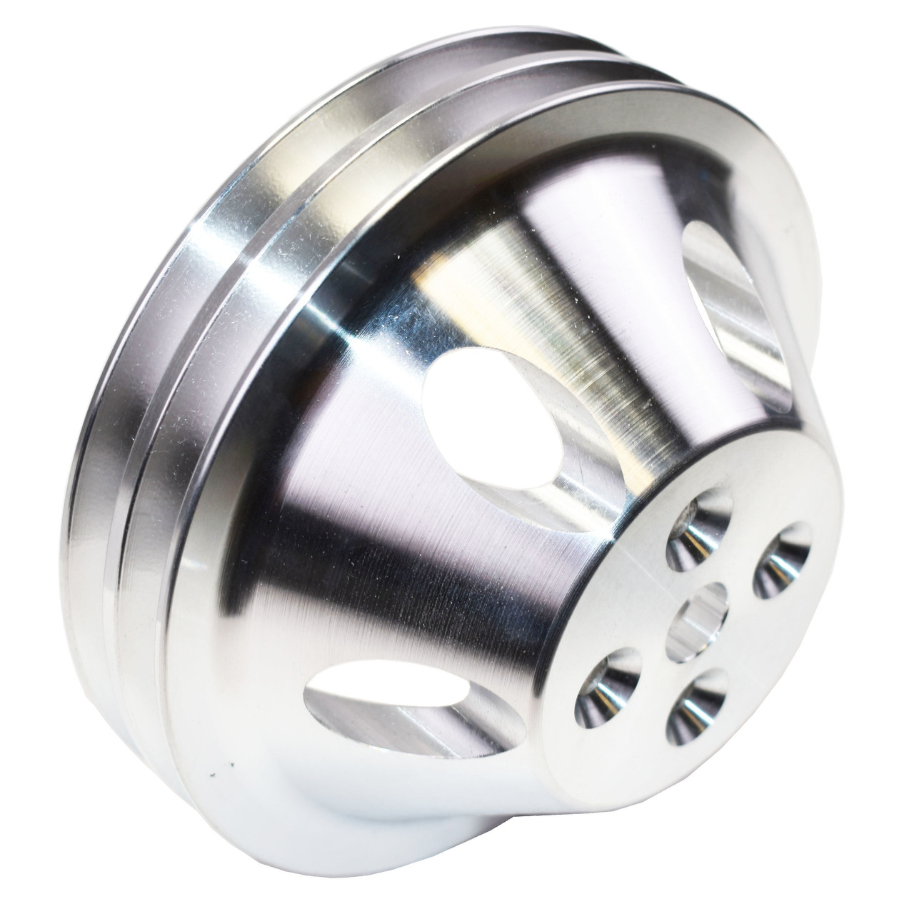 A-Team Performance CHEVY SMALL BLOCK DOUBLE-GROOVE ALUMINUM SHORT WATER PUMP PULLEY
