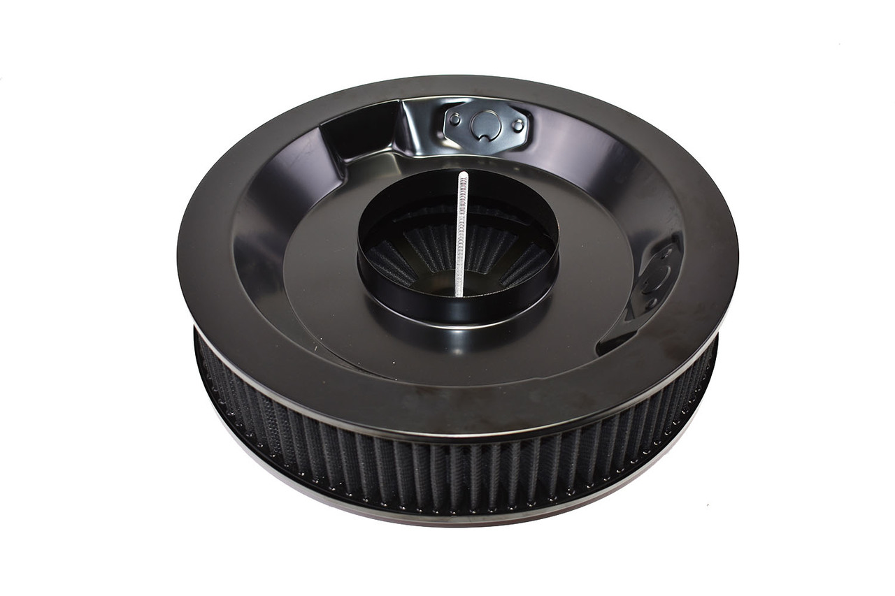 """A-Team Performance High Flow Replacement Air Cleaner Assembly w/Flow-Thru Lid, Washable and Reusable Round Element Kit Includes Star Wing nut for Chevrolet GMC Ford 14""""x3"""" Black"""
