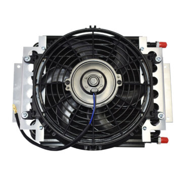 """A-Team Performance 5"""" OIL COOLER W/10"""" ELECTRIC FAN & 3/8"""" FITTING 48"""" L HOSE KIT"""