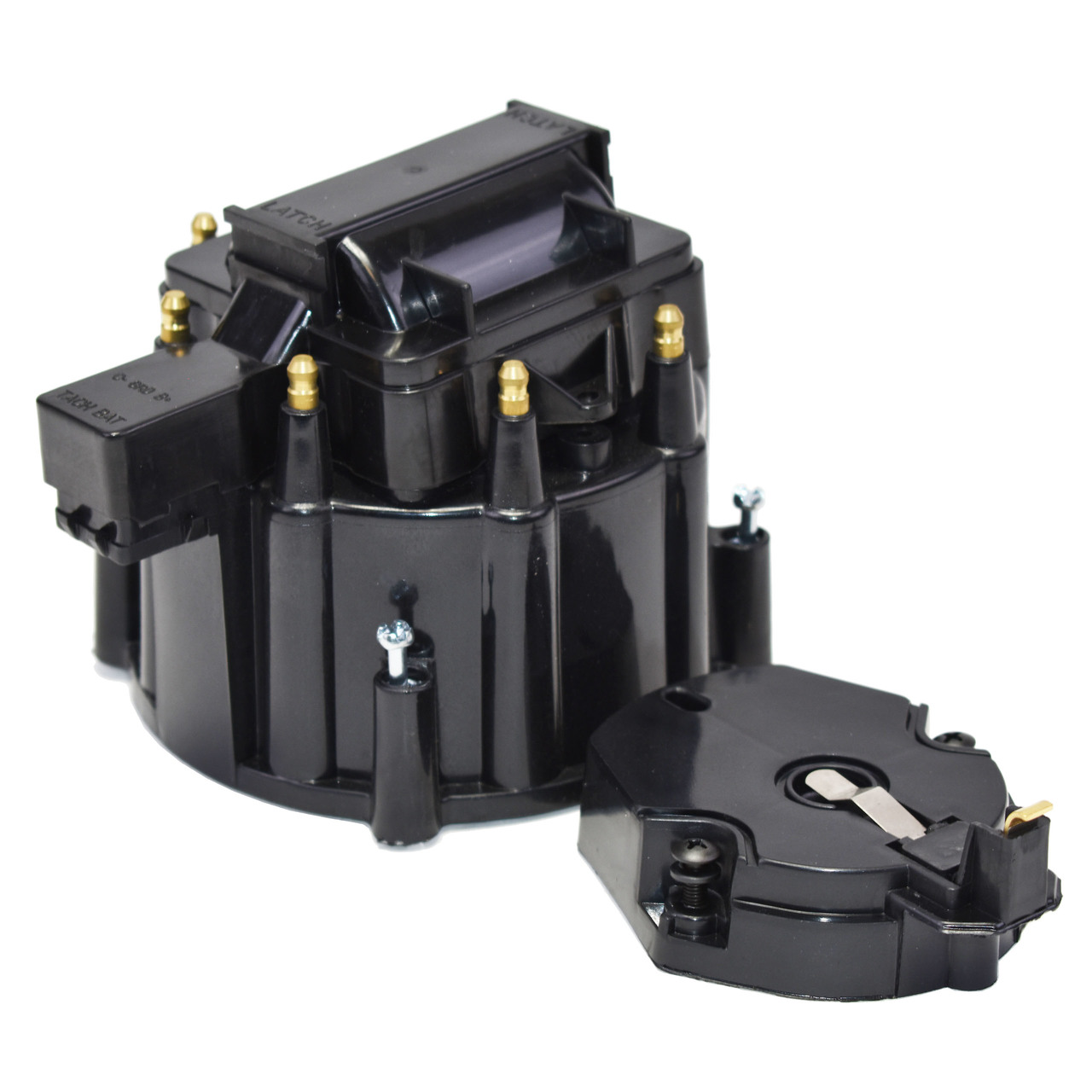 A-Team Performance  HEI OEM Distributor Cap, Rotor & Coil Cover Kit 8-cylinder CHEVY GM FORD DODGE BLACK