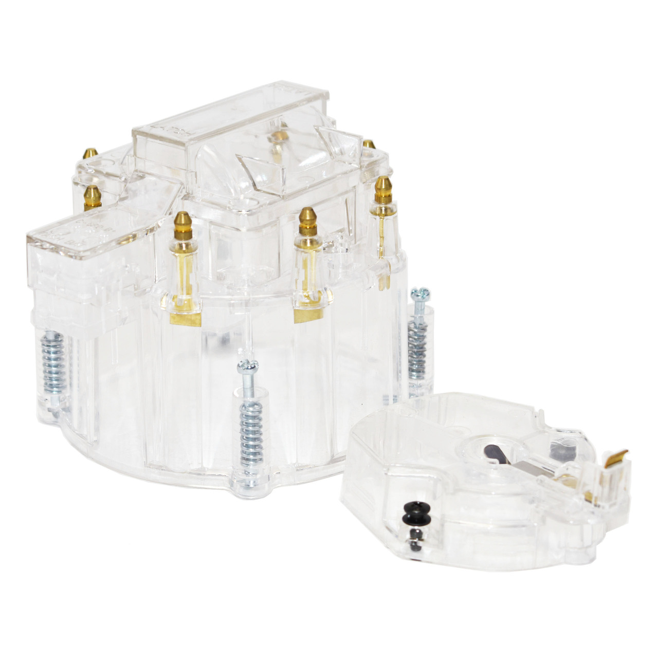 A-Team Performance HEI OEM Distributor Cap, Rotor and Coil Cover Kit 8-cylinder Compatible with Small Block SBC Big Block BBC Chevy Chevrolet Clear