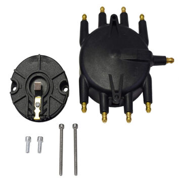 A-Team Performance LOW PROFILE CRAB STYLE REPLACEMENT DISTRIBUTOR & ROTOR CAP MALE BLACK MSD TYPE 85413