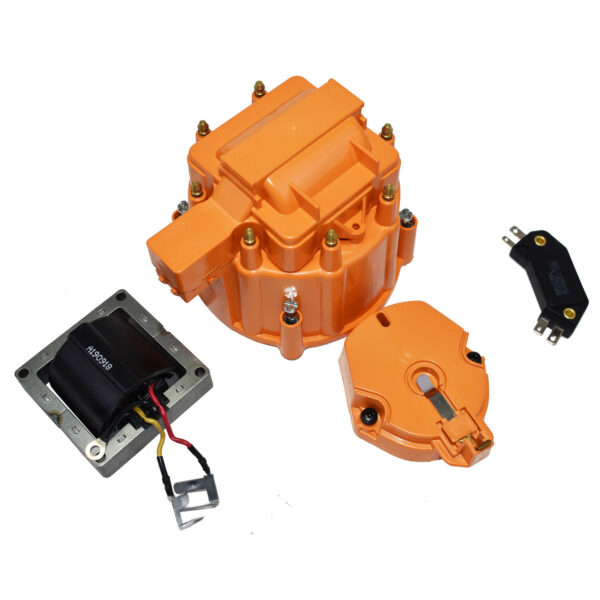 A-Team Performance HEI Distributor Tune-Up Kit 8-Cylinder 65K Ignition Coil Male Cap (Orange)
