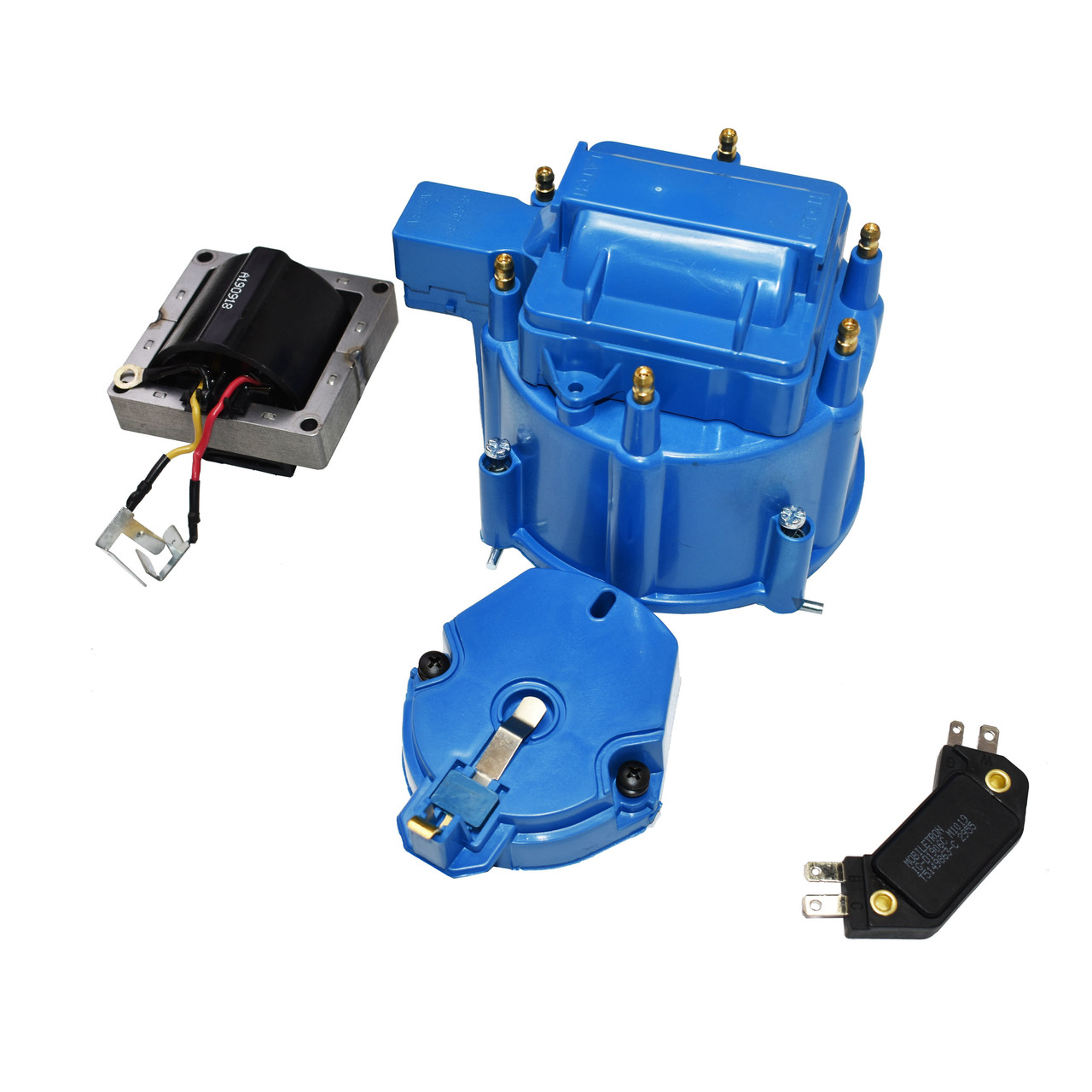 A-Team Performance HEI Distributor 6-Cylinder Tune-Up Kit Male Cap 65k Volt Ignition Coil (Blue)