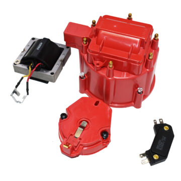 A-Team Performance HEI Distributor 6-Cylinder Tune-Up Kit Male Cap 65k Volt Ignition Coil (Red)