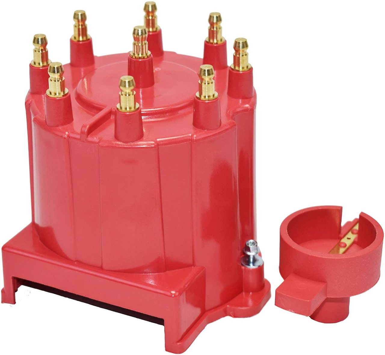 A-Team Performance 8-Cylinder EFI Distributor Cap & Rotor Kit Compatible with GM 454 305 350 RED