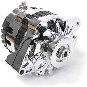 A-Team Performance GM CS130 Type 220 Amp Alternator with V-belt Pulley, Chrome