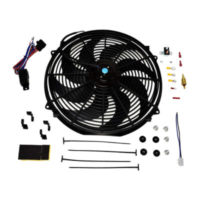 "A-Team Performance 16"" Electric Curved 8 Blade Reversible Cooling Fan 3000CFM Thermostat Kit"