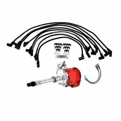 A-Team Performance HEI Distributor w/SBC Under the Exhaust Spark Plug Wires & HEI Pigtail Harness For Chevrolet Chevy GM GMC SBC 262 265 267 283 302 307 327 383 400 Red Super Cap