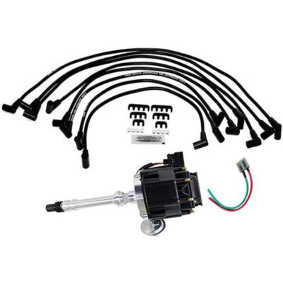 A-Team Performance HEI Distributor with Under the Exhaust Spark Plug Wires & HEI Pigtail Harness Complete Kit Compatible with Chevrolet Chevy GM GMC SBC 265 267 283 350 383 400 Black Cap