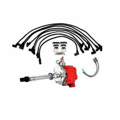A-Team Performance HEI Distributor with SBC Spark Plug Wires & HEI Pigtail Harness Complete Kit for Chevrolet Chevy GM GMC SBC 262 265 267 283 302 305 307 327 350 383 400 Red Cap