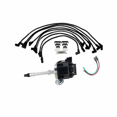 A-Team Performance HEI Distributor with SBC Spark Plug Wires & HEI Pigtail Harness Complete Kit Compatible with Chevrolet Chevy GM GMC SBC 262 265 267 283 302 305 307 327 383 400 Black