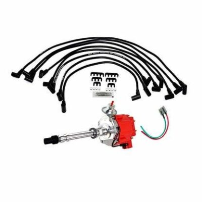 A-Team Performance HEI Distributor w/SBC Under the Exhaust Spark Plug Wires & HEI Pigtail Harness Complete Kit for Chevrolet Chevy GM GMC SBC 262 265 267 283 302 350 383 400 Red Cap