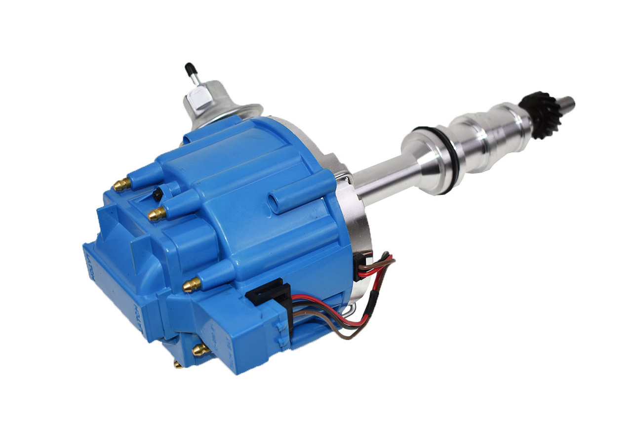 """A-Team Performance HEI Complete Distributor 65K Coil Heavy Duty Compatible With Ford HD FE/FT 330 361 391 5/16"""" Shaft One-Wire Installation Blue Cap"""