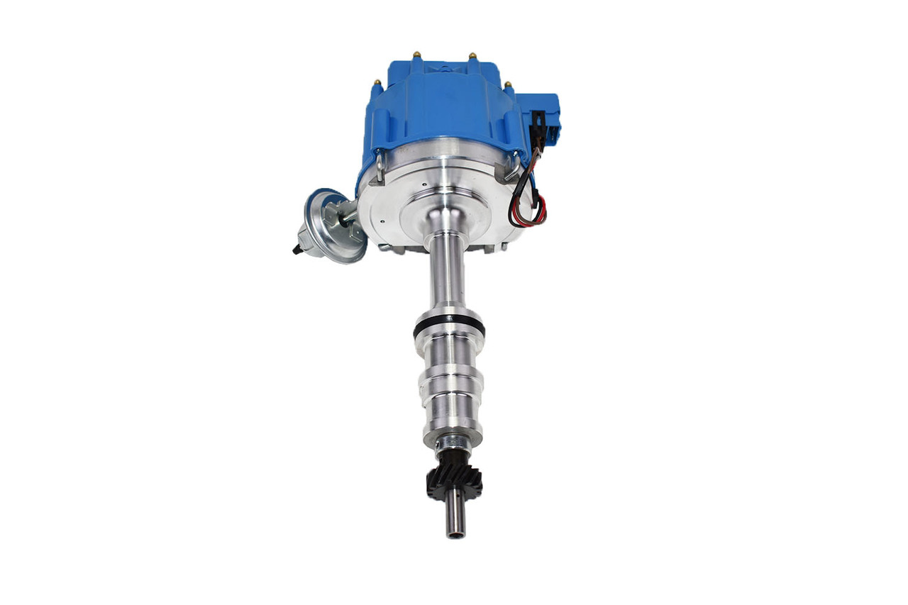 "A-Team Performance HEI Complete Distributor 65K Coil Heavy Duty Compatible With Ford HD FE/FT 330 361 391 5/16"" Shaft One-Wire Installation Blue Cap"