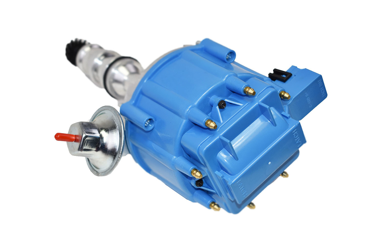 A-Team Performance HEI Complete Distributor 65K Coil Compatible With Ford FE V8 352 360 390 427 428 One-Wire Installation Blue Cap