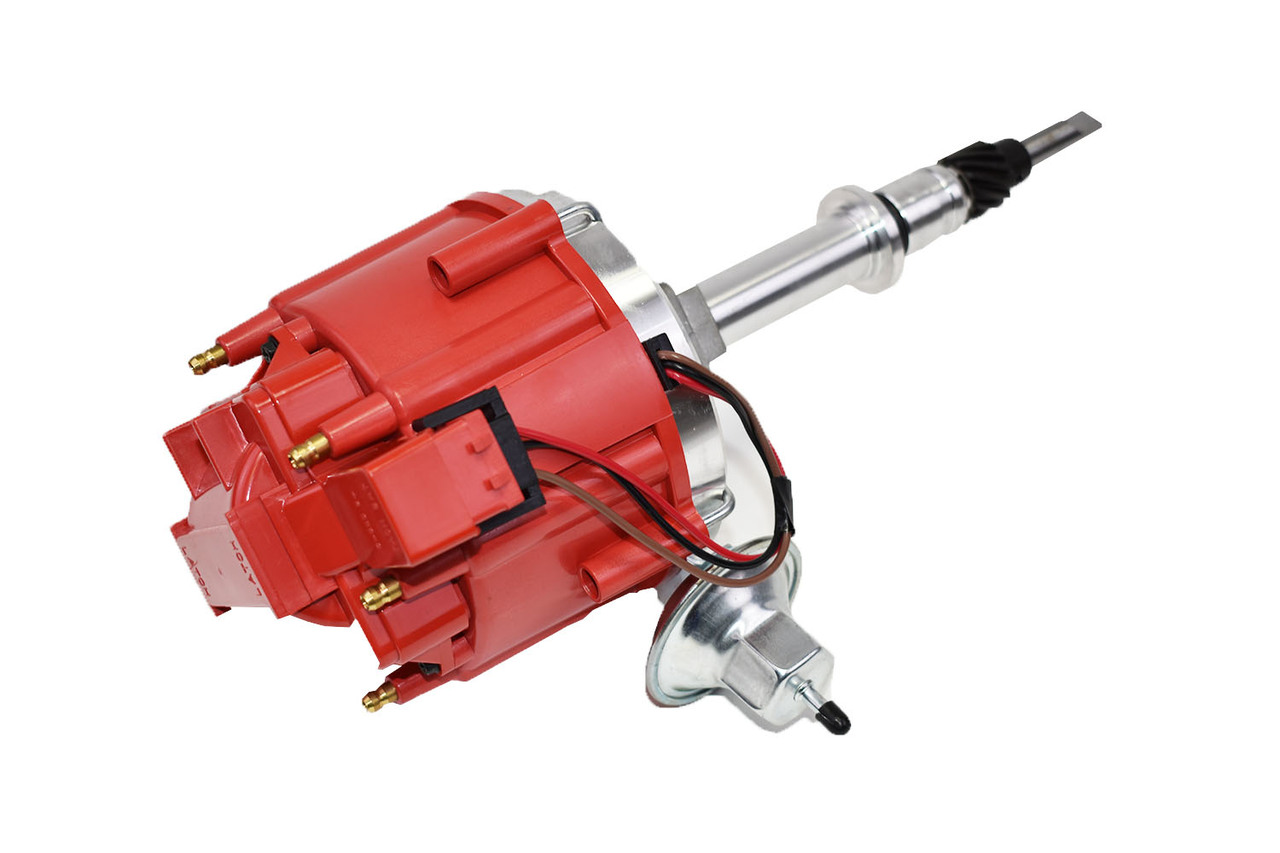 A-Team Performance HEI Complete Distributor 65K Coil Compatible with AMC Jeep Straight 6 232 3.8L and 258 4.2L One Wire Installation Red Cap