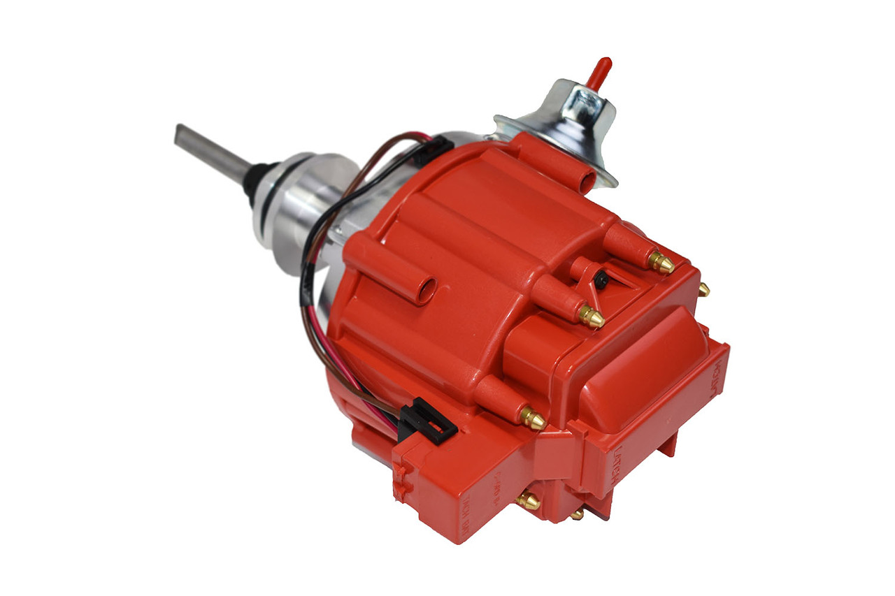 A-Team Performance Complete HEI Distributor 65K Coil Compatible with Mopar Chrysler Dodge Plymouth V8 Engines 273 318 340 360 One-Wire Installataion Red Cap