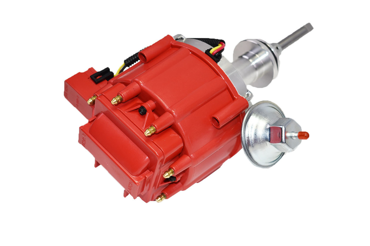 A-Team Performance HEI Distributor 65K Volt Coil Compatible with Mopar Chrysler Dodge Plymouth 392 Early HEMI V8 One-Wire Installation Red Cap