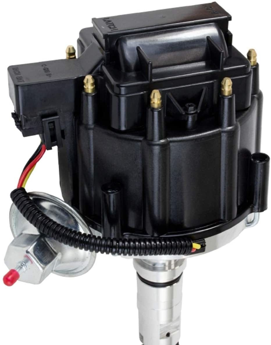 A-Team Performance HEI Distributor 65K Volt Coil Compatible with Buick Nailhead V8 264 322 364 401 425 Black Cap One Wire