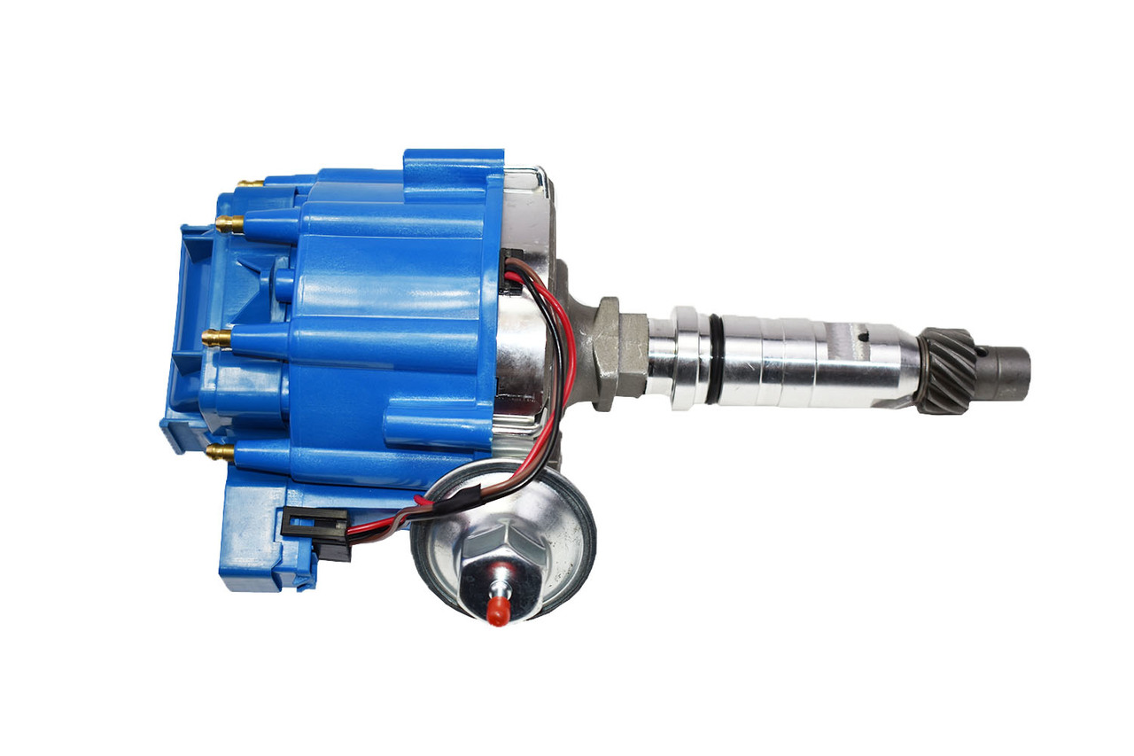 A-Team Performance HEI Distributor 65K Volt Coil Compatible With Buick Nailhead V8 264 322 364 401 425 One Wire Installation Blue Cap
