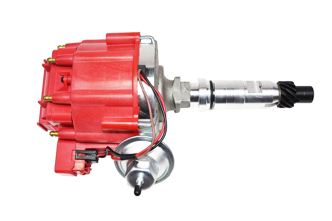 A-Team Performance HEI Distributor 65K Volt Coil Compatible With Buick Nailhead V8 264 322 364 401 425 Red Cap One Wire