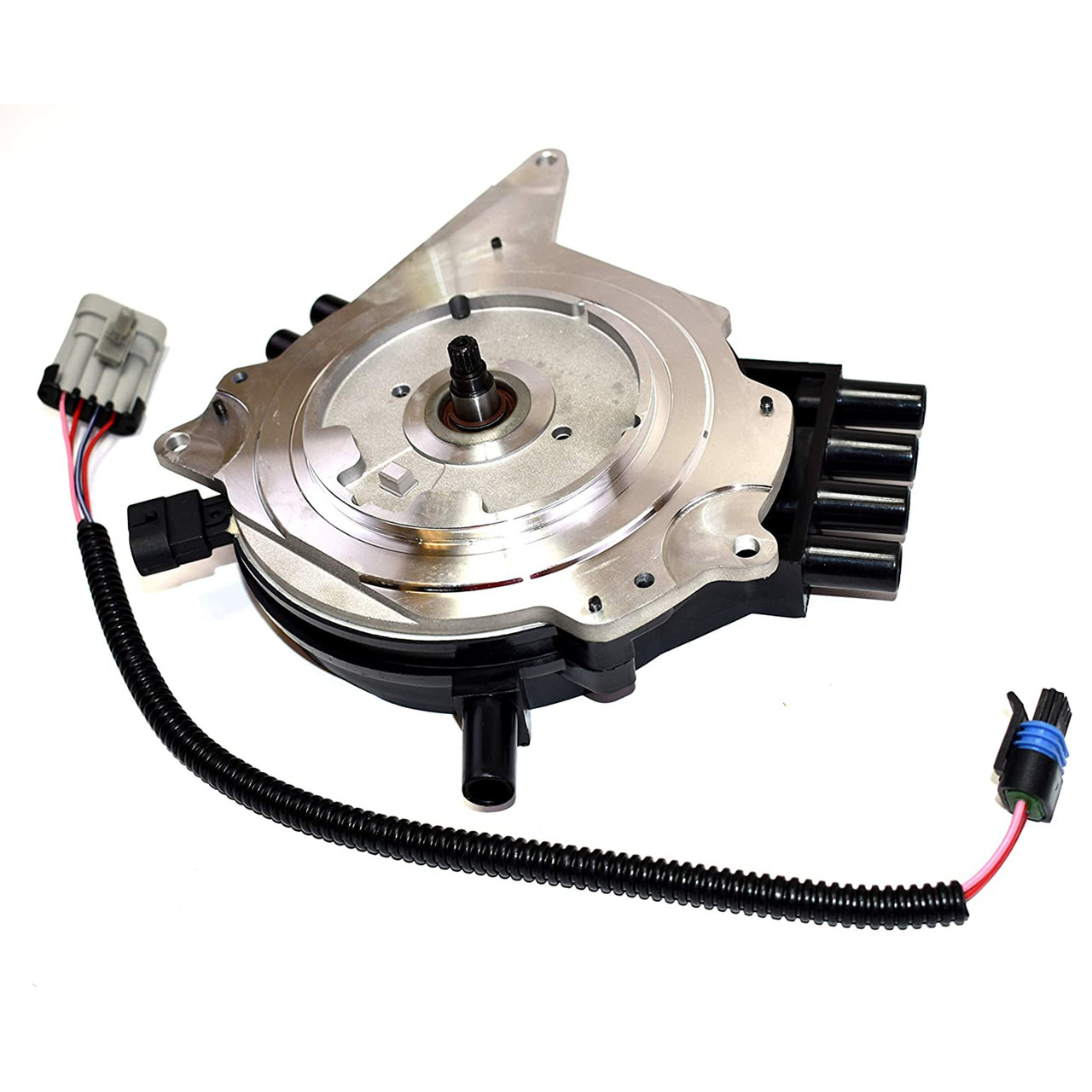 A-Team Performance Complete OptiSpark Spline Drive Distributor with Wiring Harness Compatible With Chevy GMC Chevrolet 92-94 LT1 V8 5.7L Black Cap