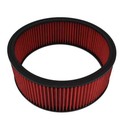 "A-Team Performance Replacement High Flow Washable and Reusable Round Air Filter Element 14"" x 5"" Red"