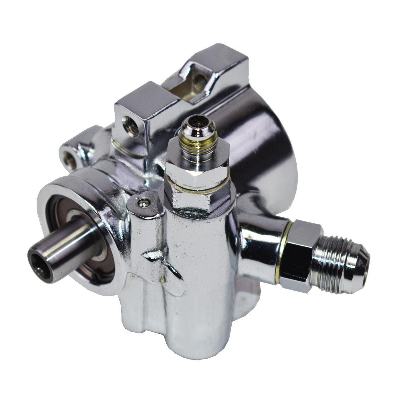 A-Team Performance Saginaw TC Series Power Steering Pump Compatible with SBC Chevy 376 427 GM Type II Chrome