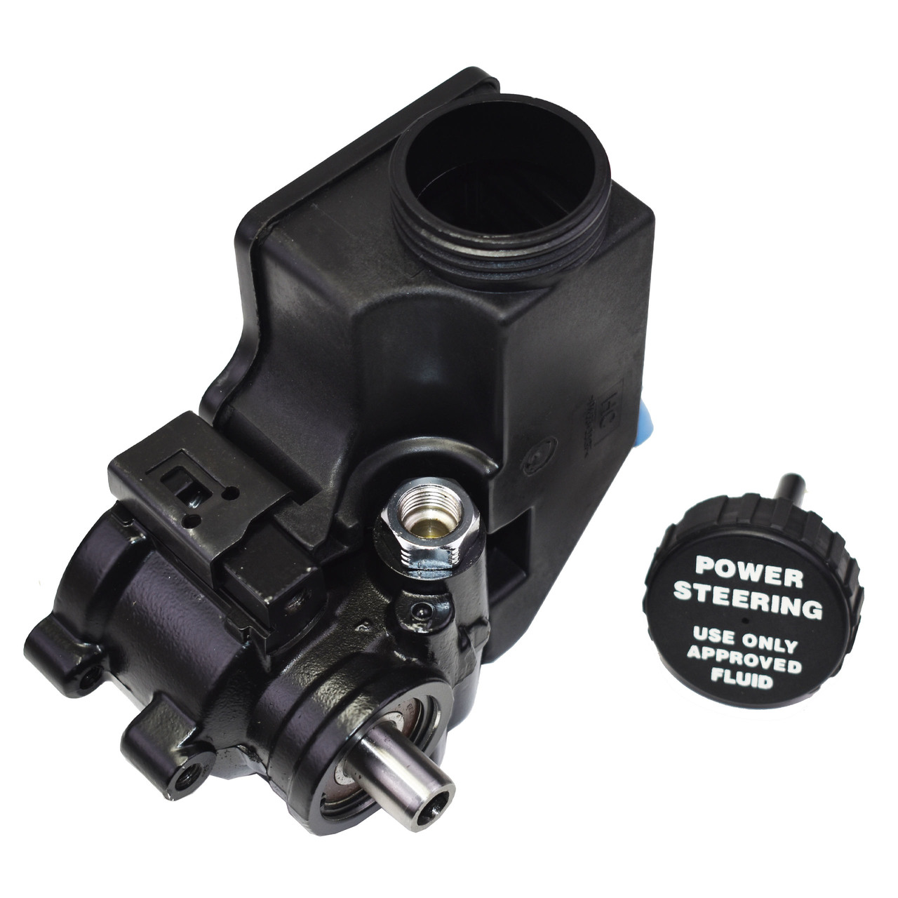 A-Team Performance Power Steering Pump Saginaw TC Series Aluminum Type II with Integral Reservoir Compatible with GM (Black)