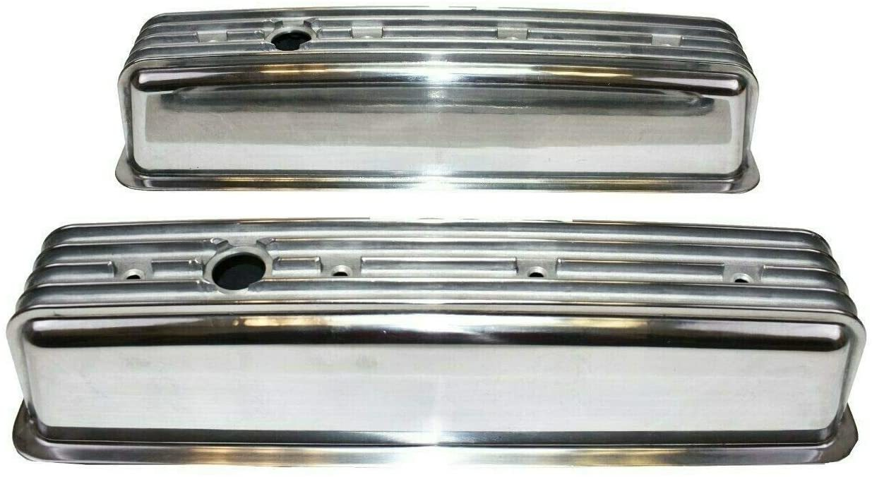 A-Team Performance Aluminum Valve Cover Kit Polished Finned Center Bolt Compatible with 87-Up Chevrolet SB SBC VORTEC Small Block Chevy 305 350 (Tall)
