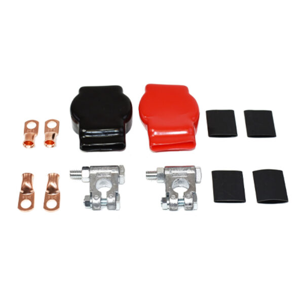 A-Team Performance Military Spec Battery Terminal Top Post Kit With Covers Copper Lugs and Heat Shrink