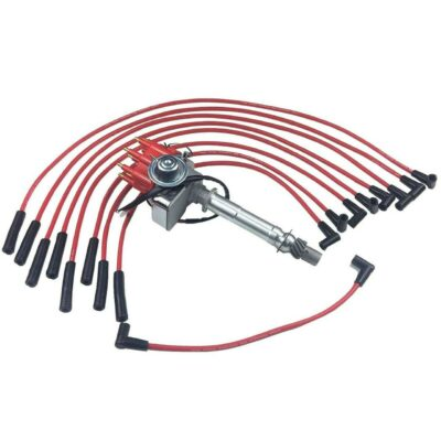 A-Team Performance BBC CHEVY 396 454 SMALL CAP DISTRIBUTOR + RED 8mm SPARK PLUG WIRES STRAIGHT BOOT