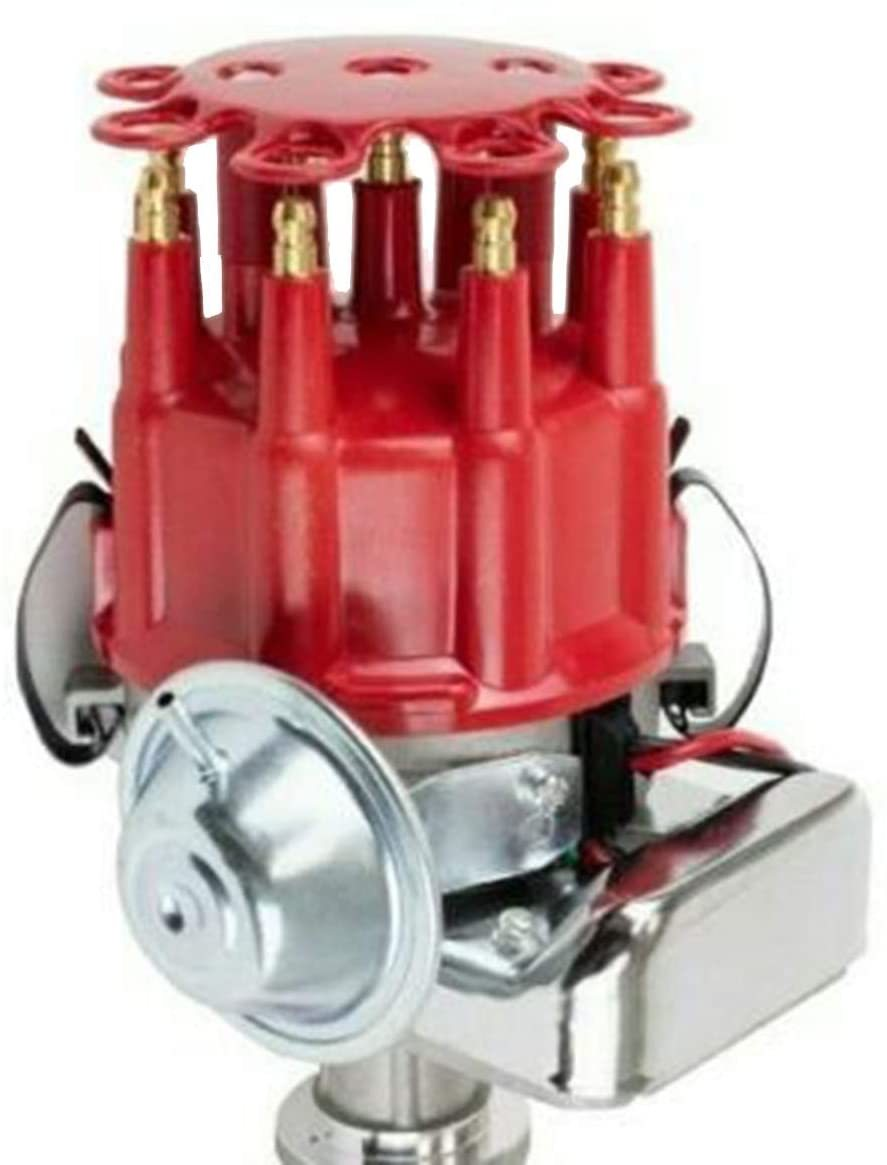 A-Team Performance R2R Complete Distributor Big Block BBF Compatible with Ford 351C 351M 400 370 429 460 Two-Wire Installation Red Cap