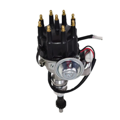 A-Team Performance R2R Ready 2 Run Complete Distributor Compatible With Small Block Ford SBF 351W Two-Wire Installation Black Cap