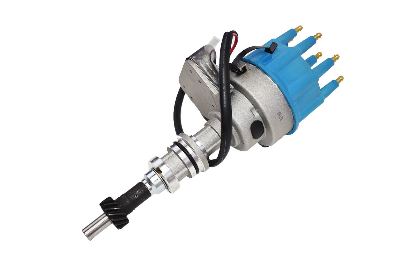 A-Team Performance R2R Ready 2 Run Complete Distributor Compatible With Small Block Ford SBF 351W Two-Wire Installation Blue Cap