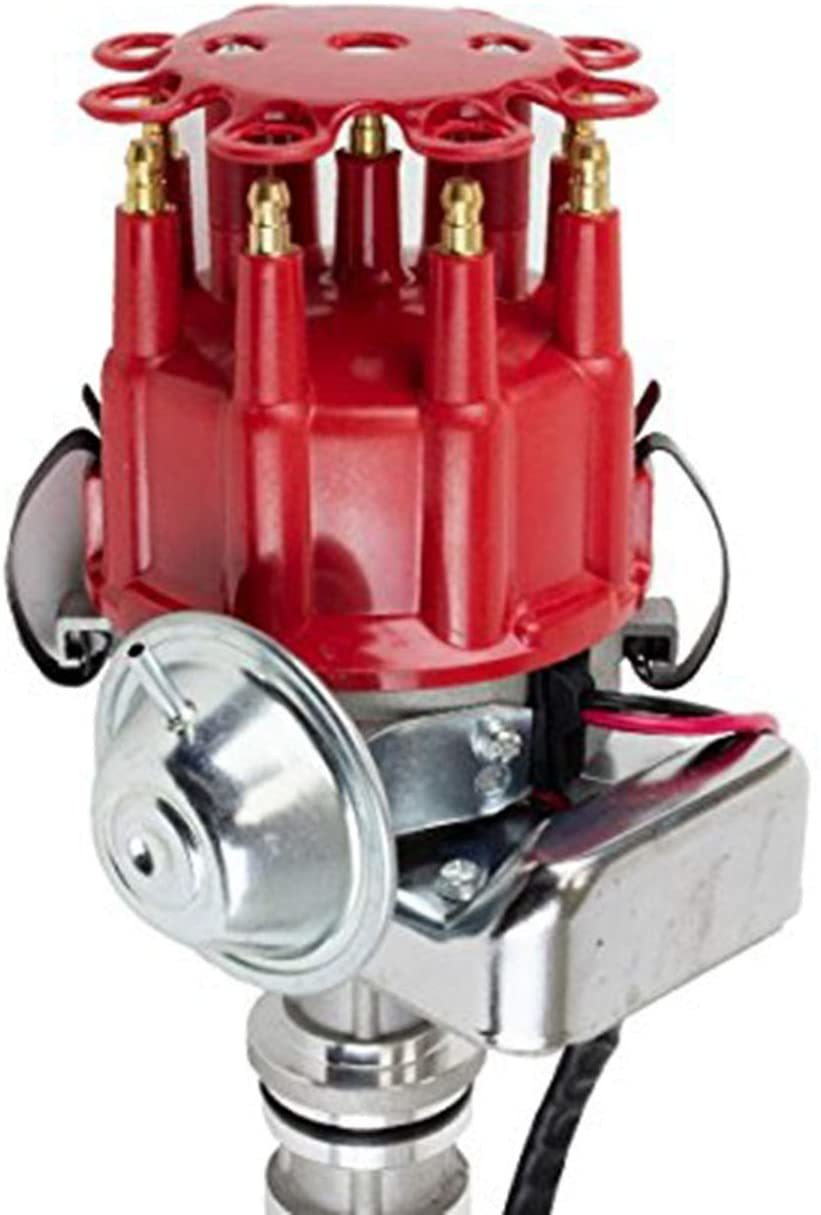 A-Team Performance R2R Ready 2 Run Complete Distributor Compatible With Small Block Ford SBF 351W Two-Wire Installation Red Cap