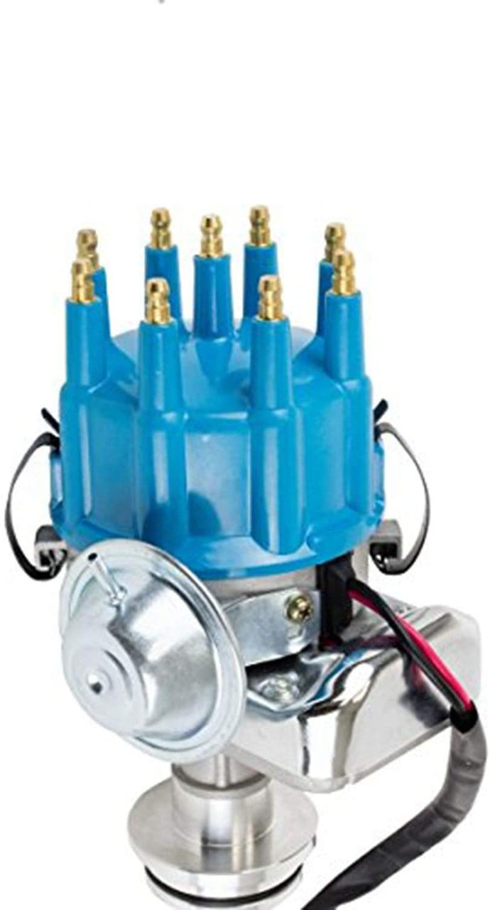 A-Team Performance R2R Ready 2 Run Complete Distributor Compatible with Mopar Chrysler Dodge Big Block 413 426 440 Two-Wire Installation Blue Cap