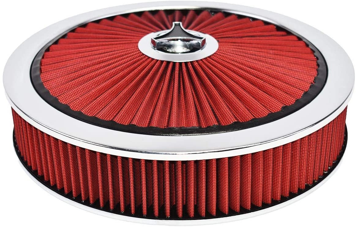 "A-Team Performance High Flow Replacement Air Cleaner Assembly w/Flow-Thru Lid, Washable and Reusable Round Air Filter Element Kit Includes Star Wing Nut for Chevrolet GMC Ford 14""x3"" Red"