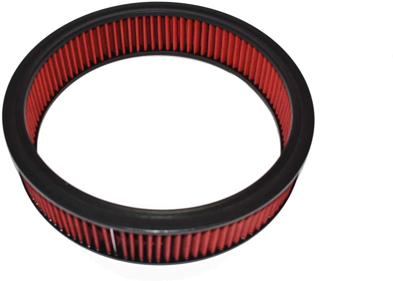 """A-Team Performance High Flow Replacement Air Cleaner Assembly w/Flow-Thru Lid, Washable and Reusable Round Air Filter Element Kit Includes Star Wing Nut for Chevrolet GMC Ford 14""""x3"""" Red"""